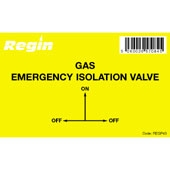 Regin REGP43 Gas Isolation Valve Sticker pk8