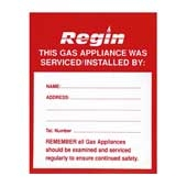 Regin REGP10 Gas Appliance Serviced Sticker pk8