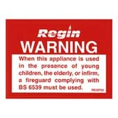 Regin REGP25 Warning Fire Guard Sticker pk of 8
