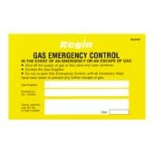 Regin REGP40 Gas Emergency Control Sticker Pk of 8