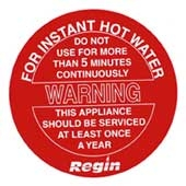Regin REGP41 5 Min Hot Water Warning Sticker pk8